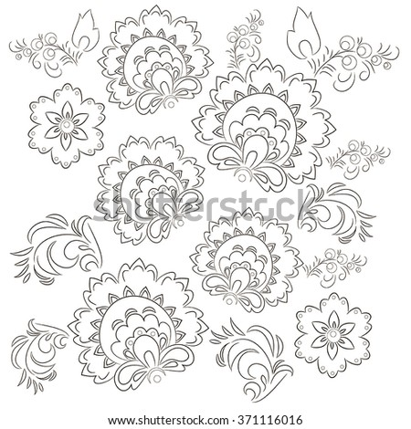 A template for coloring. Ethnic, floral, retro, pattern, vector. Doodle vector background. Henna mehndi Doodle design. White background