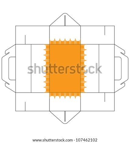 A template of a rectangular cake box, with simple decoration at the bottom of the box. - stock vector
