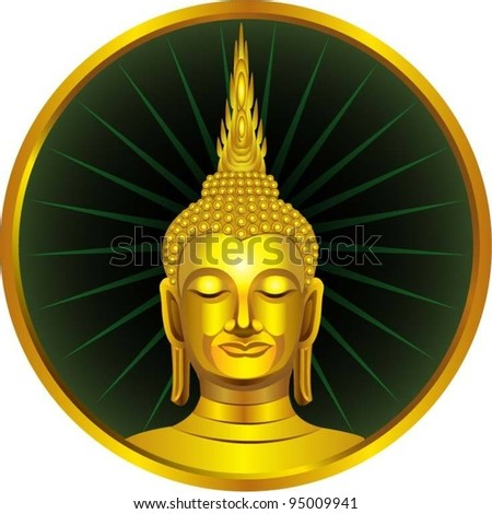 A Thai sitting buddha statue. - stock vector