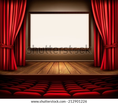 A theater stage with a red curtain, seats and a project board. Vector.  - stock vector
