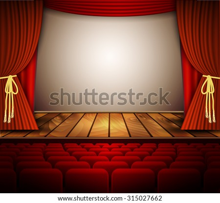 A theater stage with a red curtain, seats. Vector. - stock vector