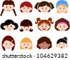 A Theme of cute vector Icons : Heads of Girls, Women, Kids (Female Set) Different ethnics, isolated on white background - stock photo