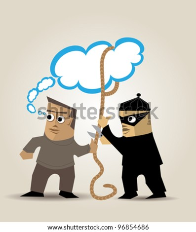 A thief steals the ideas of a man who is distracted - stock vector