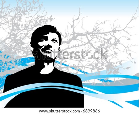 A thoughtful vector man in winter holiday background setting - stock vector