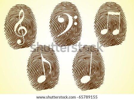 A Thumbprint showing Musicale notes and symbols - stock vector