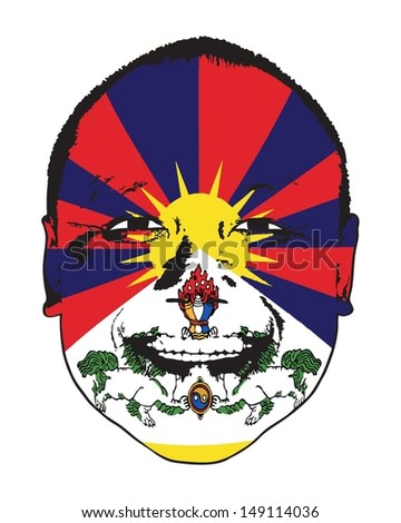 A Tibet flag on a face, isolated against white.  - stock vector