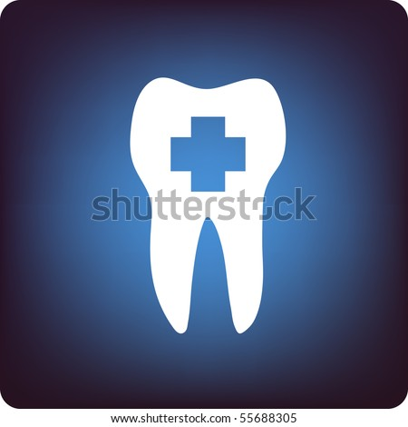 A tooth with healthcare sign in it on blue background - stock vector