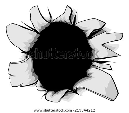 A torn circular hole, perhaps a bullet hole from a gunshot - stock vector