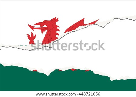 A Torn Flag Illustration of the country of Wales - stock vector