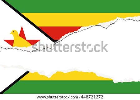 A Torn Flag Illustration of the country of Zimbabwe