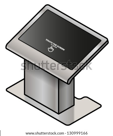 A touchscreen information kiosk. Large screen pedestal format; for floor plans, maps and group interactive activities. - stock vector