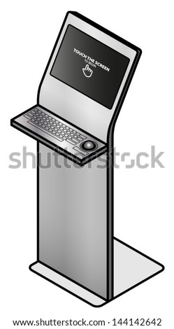 A touchscreen information kiosk with a stainless steel keyboard and trackball. - stock vector