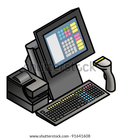 A touchscreen point of sale terminal with a receipt printer, keyboard and hand held barcode scanner. - stock vector