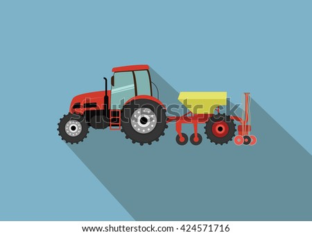 A tractor with a seeder. Agricultural illustration in flat design style vector. - stock vector