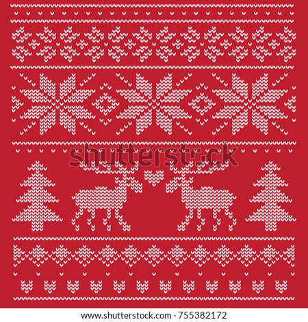A traditional Christmas pattern for a knitted sweater. It depicts two enamored deer in the forest among the trees.