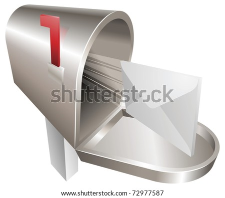 A traditional metal mailbox with letter flying out of it - stock vector