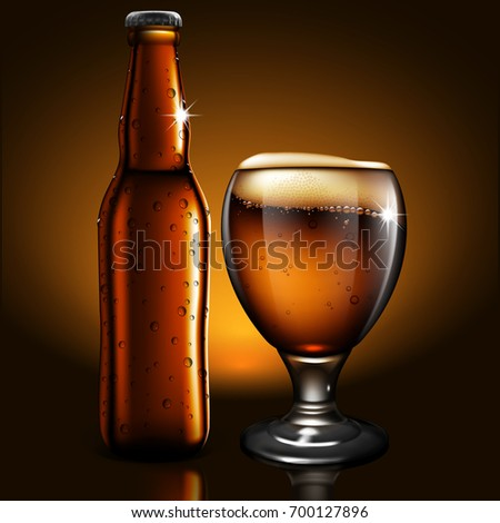 A transparent bottle and glass  of beer with droplets of moisture is reflected on the surface of the table. Highly realistic illustration.