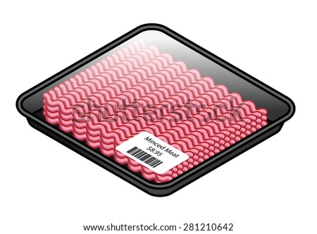 A tray of pink minced meat covered with cling film with a price sticker. - stock vector