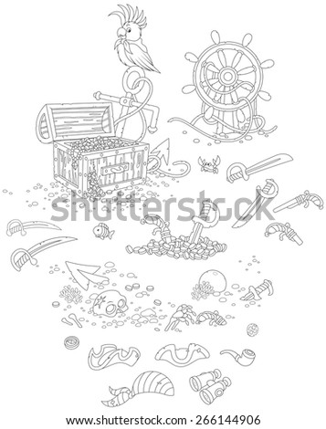 A treasure chest, sabers, pistols, a parrot, a steering wheel and other pirate things - stock vector