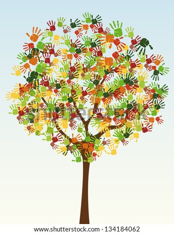 A tree of child hand prints - stock vector