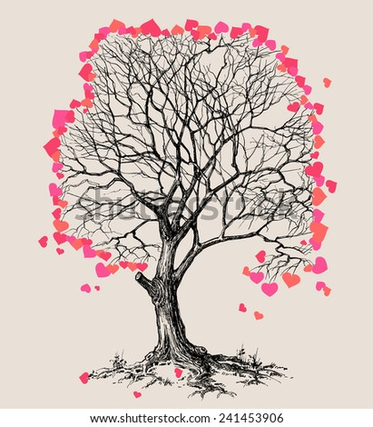 A tree of hearts love symbol - stock vector