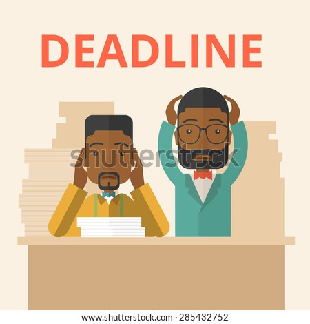 A two african-american employees is burnout  having a problem meeting the deadline, so many paper works to attend to. A Contemporary style with pastel palette, soft beige tinted background. Vector - stock vector