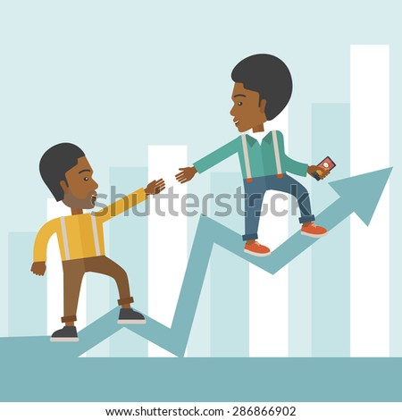 A two african businessmen helping each other in growing business leading to success. Partnership concept. A contemporary style with pastel palette soft blue tinted background. Vector flat design - stock vector