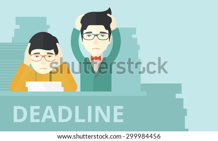 A two aisan empoloyees is burnout  having a problem meeting the deadline, so many paper works to attend to. A Contemporary style with pastel palette, soft blue tinted background. Vector flat design - stock vector