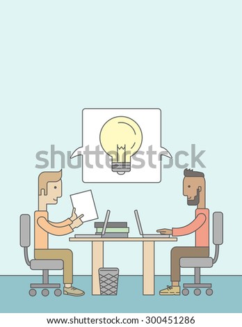 A Two caucasian businessmen sitting working together getting a brilliant ideas from internet using their laptop. A Contemporary style with pastel palette, soft blue tinted background. Vector flat - stock vector
