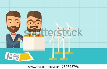 A two caucasian workers using laptop with windmills as power generator.  A Contemporary style with pastel palette, soft blue tinted background. Vector flat design illustration. Horizontal layout with - stock vector
