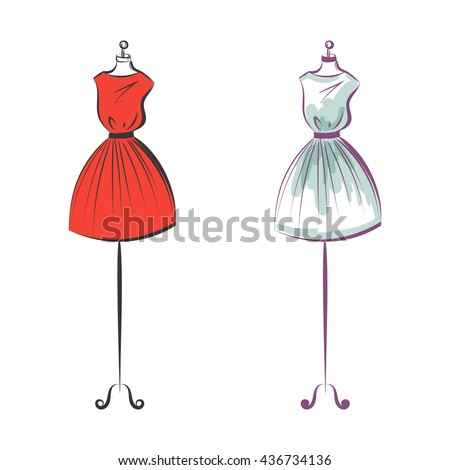 a two gown mannequin hand drawing illustration on a white background