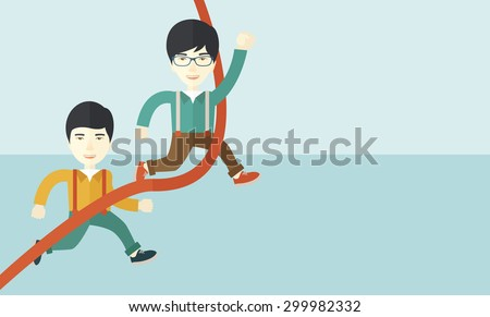 A two happy asian guy running to the finish line for meeting the deadline. Winner, victory concept. A contemporary style with pastel palette soft blue tinted background. Vector flat design - stock vector