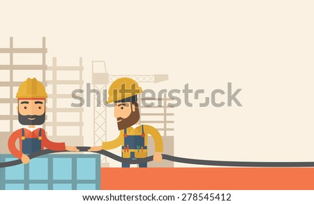 A two hipster builders wearing hard hat for their safety ladders use for construction. A Contemporary style with pastel palette, soft beige tinted background. Vector flat design illustration - stock vector