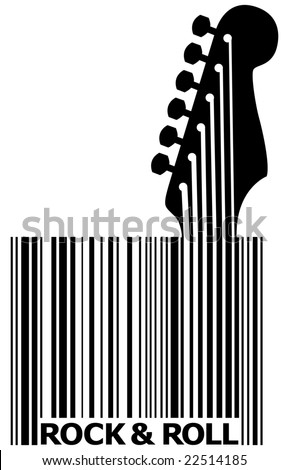 A UPC bar code that's also a guitar with space for text - stock vector