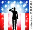 A US military armed forces soldier in silhouette saluting in front of an American flag background - stock vector