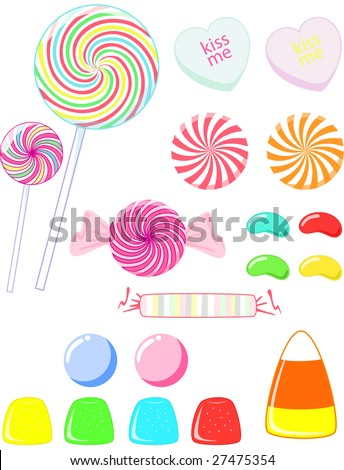 a variety of candy - stock vector