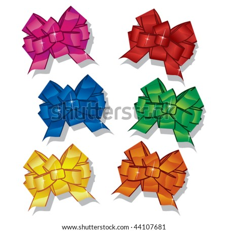 A variety of glossy bows