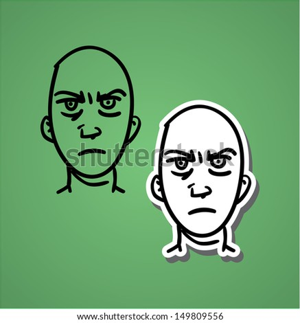 A variety of hand-drawn male faces - anger - stock vector