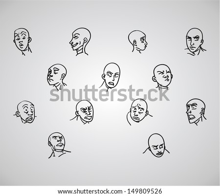 A variety of hand-drawn male faces - negative - stock vector