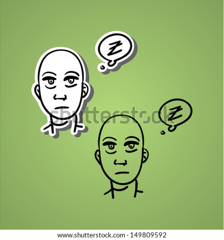 A variety of hand-drawn male faces - surprised - stock vector