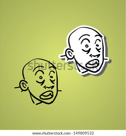 A variety of hand-drawn male faces - surprised and shocked - stock vector