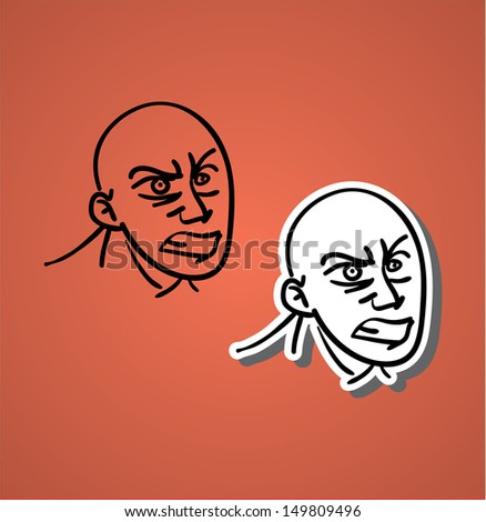 A variety of hand-drawn male faces - upset - stock vector