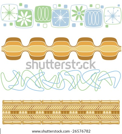 A variety of retro patterns from the 50s and 60s. - stock vector