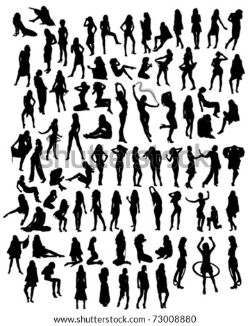 a variety of silhouettes of young women