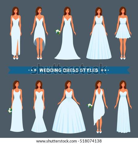 Variety Styles Types Fashions Wedding Dress Stock Vector (2018 ...