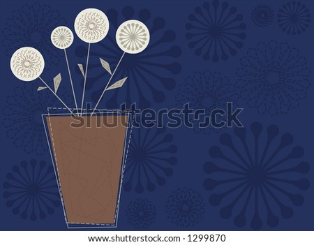 A vase of contemporary-styled flowers. Fully editable vector illustration. - stock vector