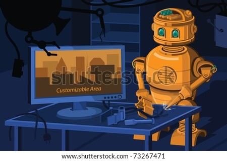 A vector art masterpiece of a Hi-tech Repair Robot separated in 3 layers. Extra area for other text and design elements was provided in the LCD part which can be used and utilized as clipping mask. - stock vector