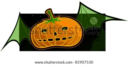A vector background of a flying pumpkin. - stock vector