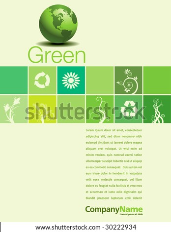 A vector background page design with a green theme - stock vector