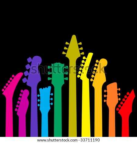 A vector background with a rainbow of Guitar headstocks - stock vector